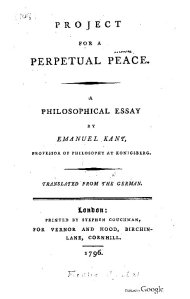 Project for a perpetual peace: A philosphical essay / Kant, I - London, Vernor and Hood, 1796