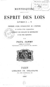 Esprit des lois, livres I-V... / Montesquieu - Paris, C. Delagrave, 1887