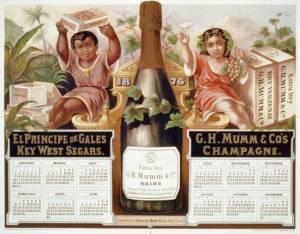 Calendario publicitario para una marca de champán, 1876