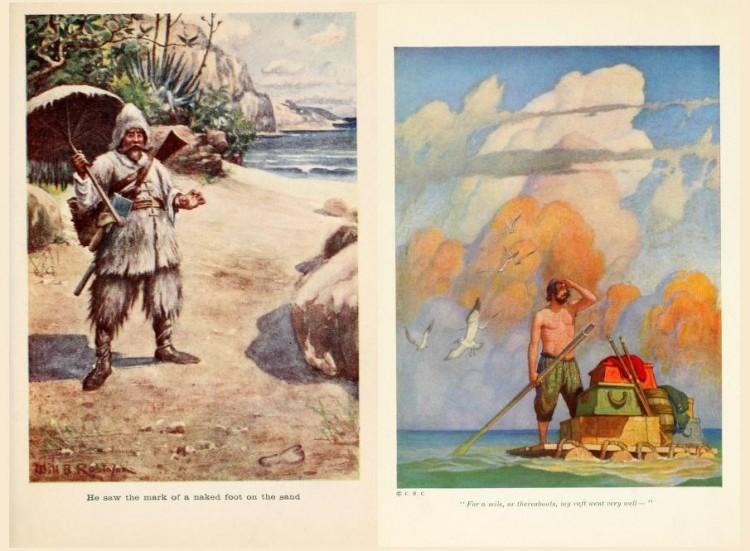 Ilustraciones de dos ediciones de Robinson Crusoe : (1) por W. B. Robinson -- (2) por N. W. Wyeth