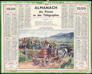 Almanach des Postes et Télégraphes - Calendario, 1939