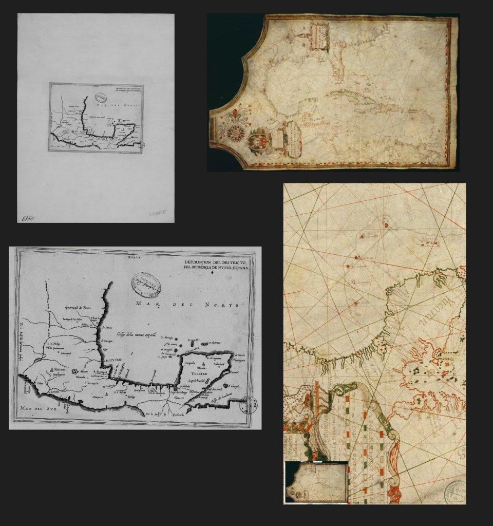 A la izquierda : Herrera y Tordesillas, Antonio de , Descripcion del destricto del advençia de Nueva Espana -- A la derecha : Carte du Golfe du Mexique, hecho de Juan Bisente