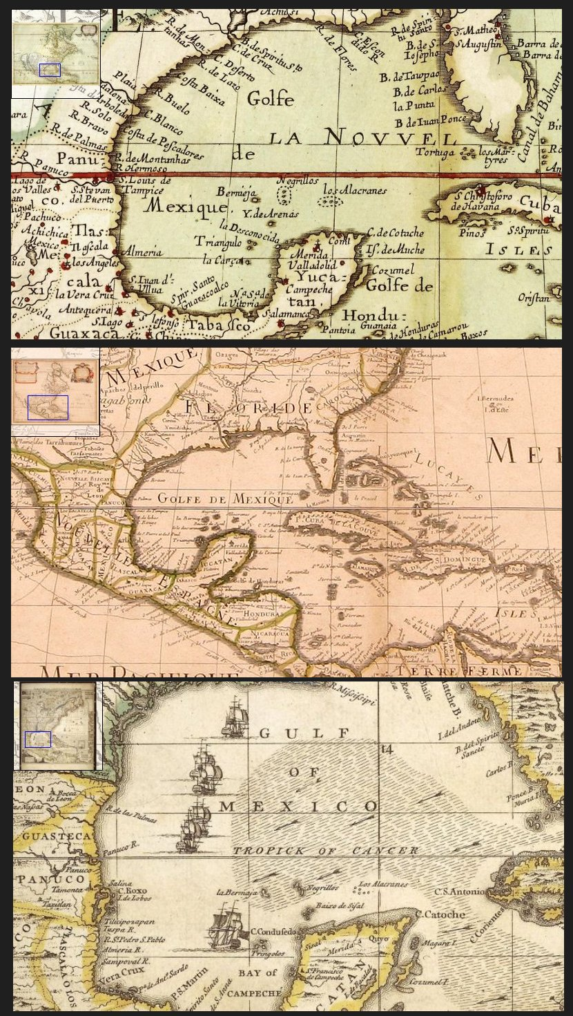 Desde arriba : (1) Popple, Henry, A map of the British empire in America -- (2) Sanson, Nicolas, Amérique septentrionale -- (3) L'Amerique Septentrionale. Dressée sur les Observations de Mrs. de l'Académie Royale des Sciences