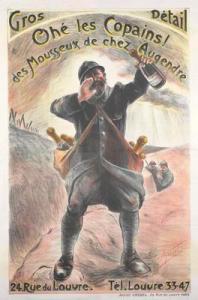 Mousseux Augendre - Cartel publicitario de vino espumoso ambientado en la I Guerra Mundial, 1915-1916