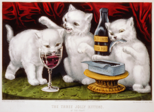 Three jolly kittens at the feast - Grabado norteamericano, 1871