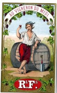 Au vigneron du midi - Etiqueta de botella, S. XIX