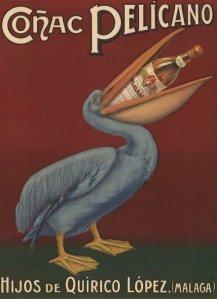 Coñac Pelicano - Cartel publicitario de 1920