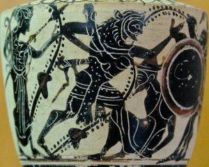 Combate entre Heracles y Gerión, Lécito griego