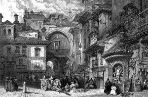La Puerta mora de Granada, hacia 1830, dibujo de David Robert, grabado por J. B. Allen.