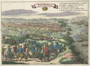 Barcelona asediada, 1705, ilustración de un almanaque holandés (1706)