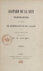 Aloysius Bertrand – Gaspard de la Nuit (1843)