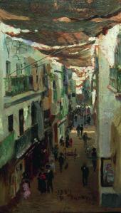 Ilya Repin - Calle de las Sierpes (Sevilla, 1883)
