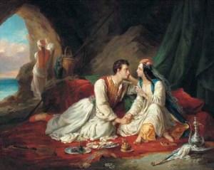 Alexandre Marie Colin -Lord Byron caracterizado como Don Juan, con Haydee (S. XIX)