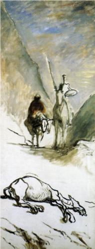 Honoré Daumier - Don Quijote, Sancho Panza y la mula muerta (1867)