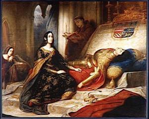 Charles de Steuben – Juana la loca esperando la resurrección de su marido.
