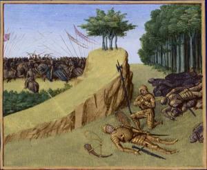 Batalla de Roncesvalles en 778. Muerte de Roldán, en las Grandes Crónicas de Francia, ilustradas por Jean Fouquet, Tours, hacia 1455-1460