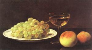 Otto Scholderer (1834-1902) – Bodegón con uvas en un plato de porcelana, dos melocotones y una copa de jerez