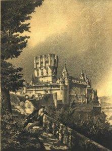 F.J. Parcerisa – El Alcázar de Segovia (1865). Las aventuras de Rimualdo le llevan al Alcázar de Segovia