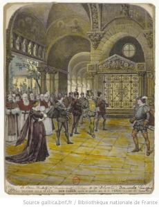Función del « Don Carlo » de Giuseppe Verdi, en La Scala de Milán, grabado de Barberis y Carlo Cornaglia (1884)