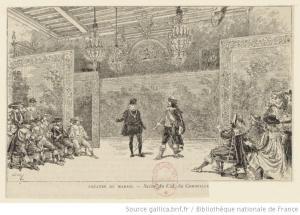 Escena de Le Cid, Théâtre du Marais, Paris, estampa de Adrien Marie (1848-1891)
