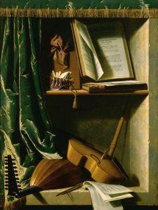 Michel Boyer - Trampantojo con laúd, viola, flautín y libros de música (S. XVIII)