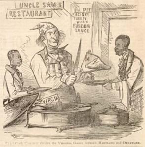 Frank Bellew – Uncle Sam divide el estado de Virginia (1861)