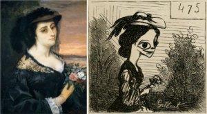 Gustave Courbet – Portrait de Laure Borreau (1863) ; y la caricatura de Cham del mismo cuadro