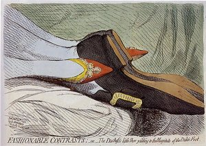 James Gillray - Fashionable Contrasts, or The Duchess's little Shoe yeilding [sic] to the Magnitude of the Duke's Foot (1792)
