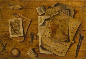 Anónimo - Trampantojo con partituras, dibujos y llaves (ca. 1800)