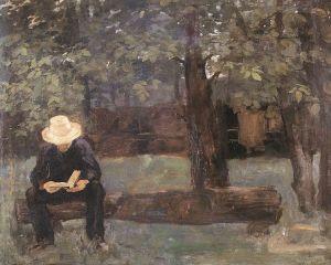 Károly Ferenczy - Hombre sentado en un tronco (1895)