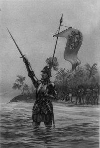 Nuñez de Balboa proclamando el dominio del Rey de España sobre el Mar del Sur, ilustración de 1893