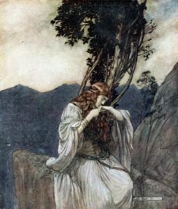 Arthur Rackham - Siegfried and the Twilight of the Gods : Brunilda besa el anillo que le ha dado Siegfried (1911)