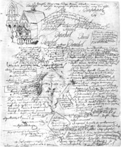 Una página del manuscritos de Los Endemoniados, de Fiodor Dostoyevski