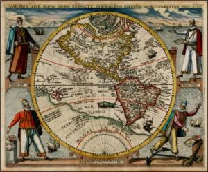 Theodore De Bry - Mapa de América, o El Nuevo Mundo (1596)