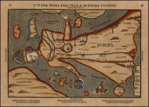 Heinrich Bünting - Mapa de Europa como una virgen (1582)