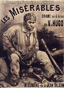 Cartel de la adaptación para el teatro de « Los Miserables » de Victor Hugo (1890)