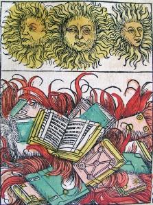 Hartmann Schedel - Crónicas de Núremberg : quemando libros (S.XV)