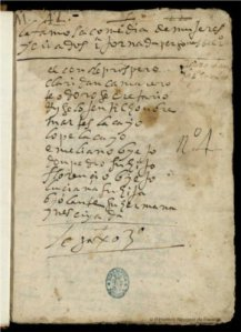 Una página del manuscrito de « Mujeres y criados » de Lope de Vega, accesible en la Biblioteca Digital Hispánica