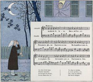 Partitura de « Au clair de la lune », edición infantil de 1910