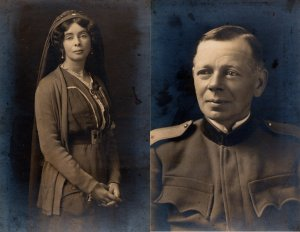 Alice Askew y Claude Askew, con uniformes serbios