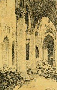 Arnold Bennet – Over there (1915), ilustración de Walter Hale : la nave derruida de la catedral de Soissons