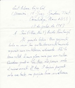 Una de las cartas de Jorge Guillén donadas a la Biblioteca Nacional