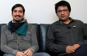 Los escritores chilenos Carlos Labbé y Alejandro Zambra