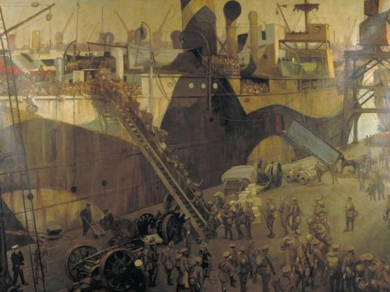 John Lavery – Troops embarking at Southampton para el Frente del Oeste (1917)