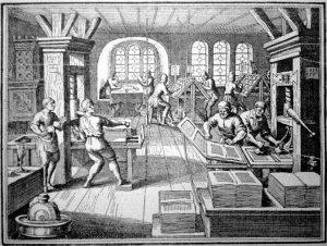 Imprimiendo en el siglo XVI, grabado de 1908