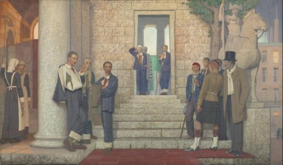 Frederic Cayley Robinson - Veteranos y enfermos en la puerta del hospital (1920)