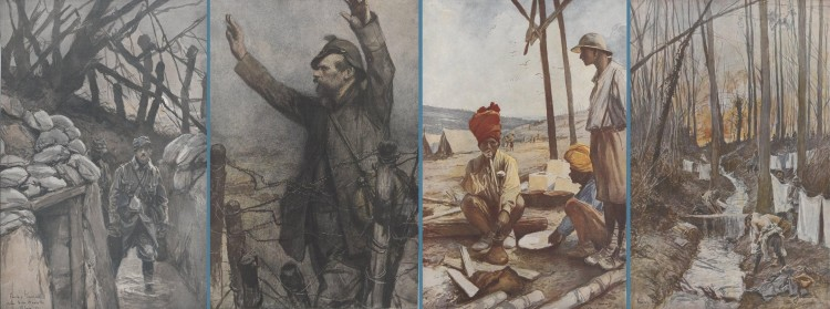 François Flameng – Croquis de guerre (1914-1918) : Dans les tranchées de Notre-Dame de Lorette après un orage – Kamarade ! - Au campement de la Cavalerie des Indes, près de Fricourt (Somme) – La toilette des poilus la veille de la bataille