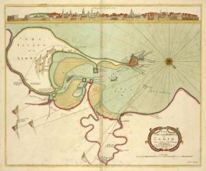 El puerto y la ciudad de Cádiz, mapa disponible en el fondo de la NYPL