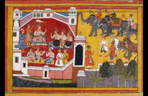 Una página de The Mewar Ramayana, manuscrito indio ilustrado del siglo XVII