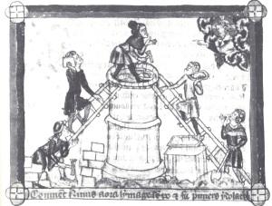 Construcción de la torre de Babel, manuscrito de 1350